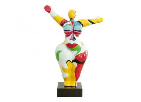 Statue femme ronde, body painting, bras écartés -H37cm
