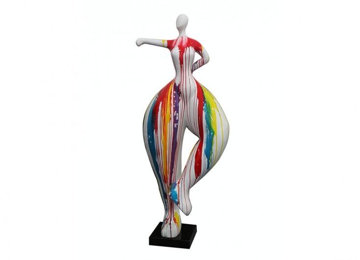 Grande statue Femme ronde, coup de poing. Effet peinture coulante -H138cm