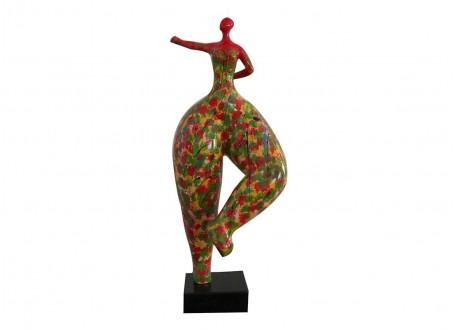 Statue Femme ronde, coup de poing. Motifs impressionnistes -H68cm