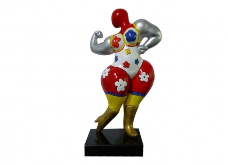 Statue Femme ronde, bodybuilder. Motifs fleuris -H53cm