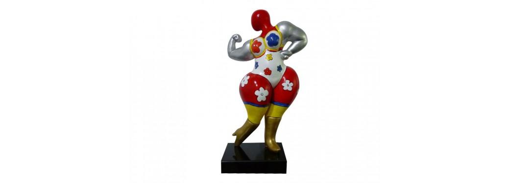 Statue Femme ronde bodybuilder. Motifs fleuris - H53 cm