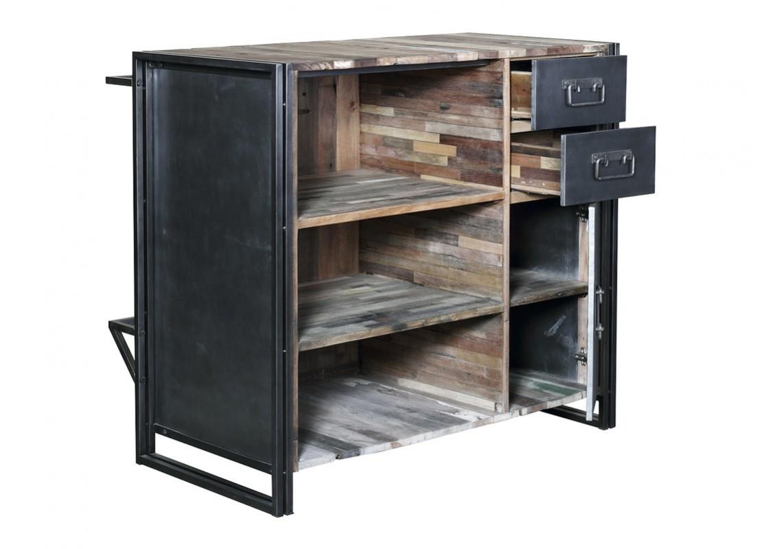 bar indus en bois massif et structure m tal 2 tiroirs et 3 tablettes. Black Bedroom Furniture Sets. Home Design Ideas