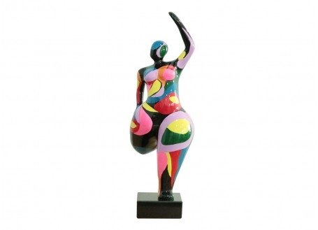Statuette femme ronde, cloche pied. Multicolors -H24cm