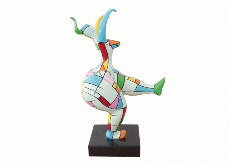Moyenne statue en résine femme ronde graphique danseuse -H57cm