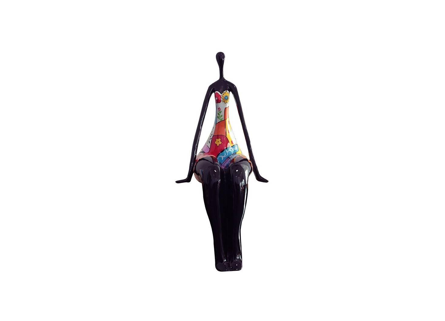Statue femme ronde, assise. Motifs fleuris -H74cm