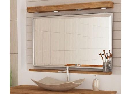 Miroir Alpha + Bandeau lumineux + étagère -L120cm