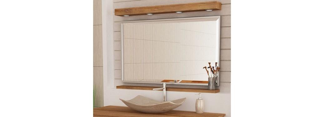 Miroir Alpha + Bandeau lumineux + étagère - L120 cm