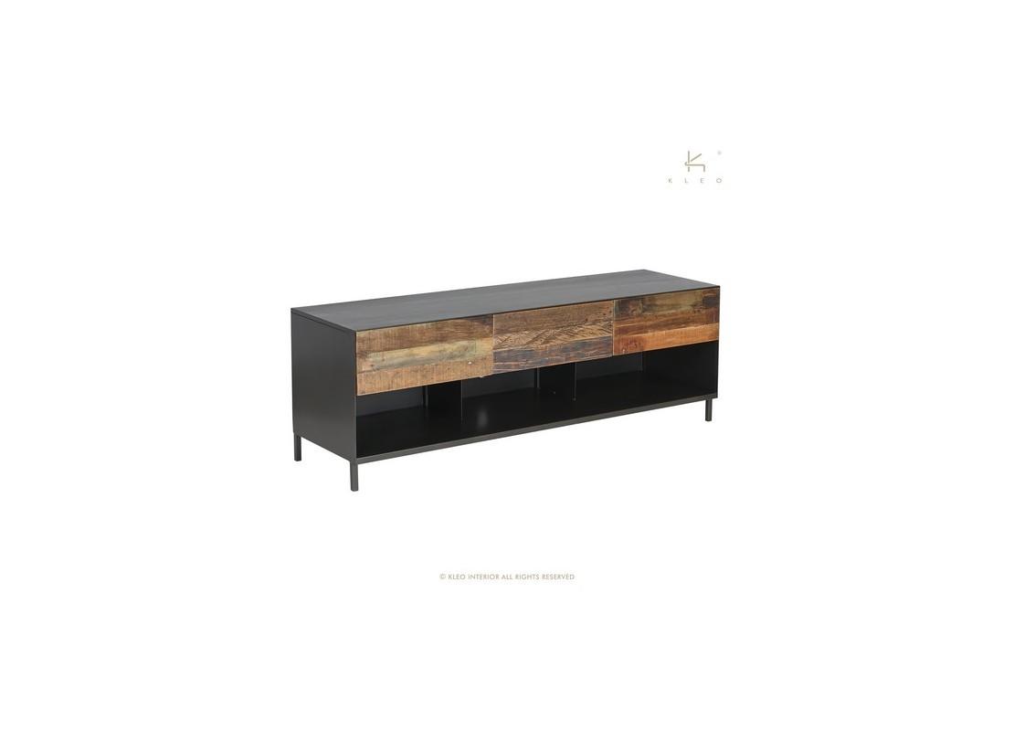 Poignée De Meuble Industrielle meuble tv pure, 3 tiroirs - l160 cm