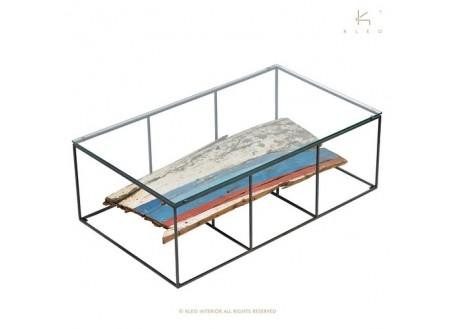 Table basse rectangulaire avec plateau en verre - L120cm