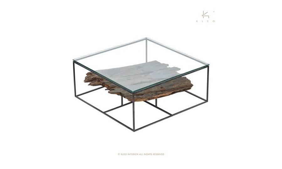 Table basse carrée avec plateau en verre - L80cm