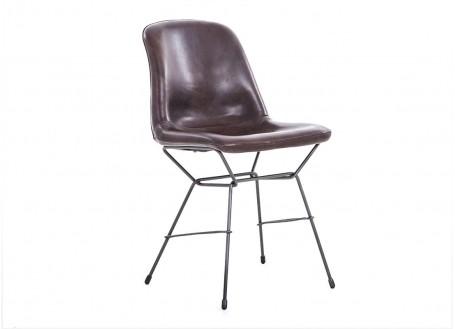 Chaise Rockford - Cuir marron et métal