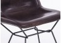 Chaise avec revêtement en cuir- coloris marron cigare