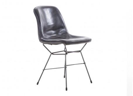 Chaise avec revêtement en cuir- coloris gris