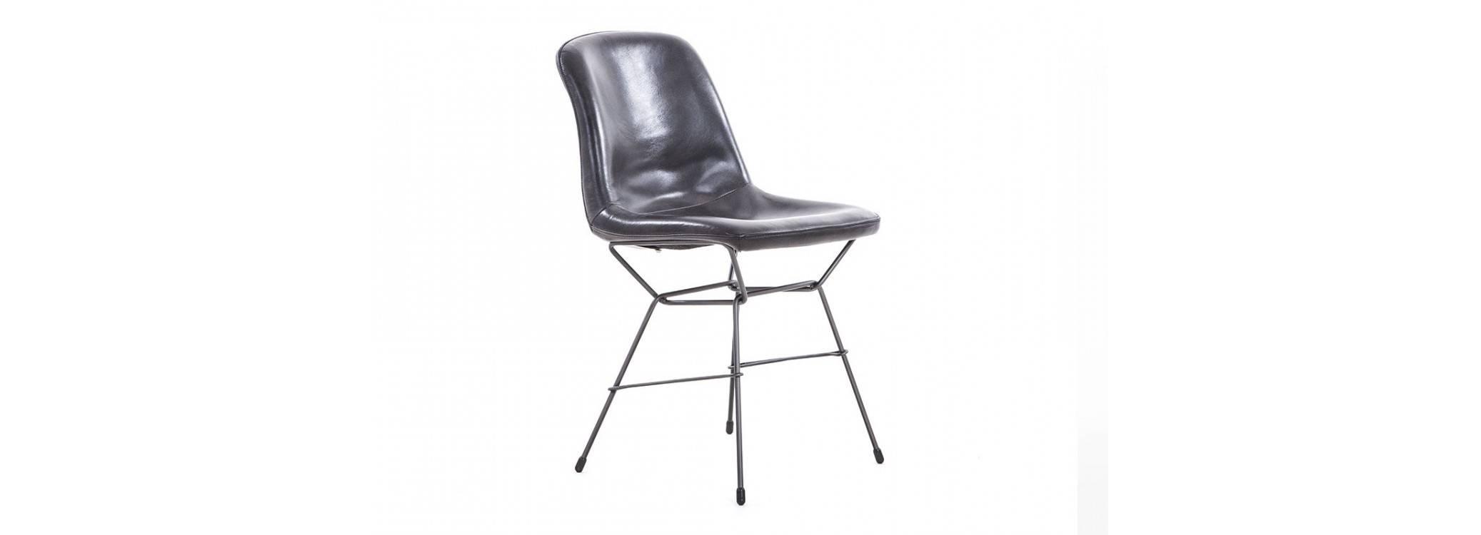 Chaise Rockford - Cuir gris et métal
