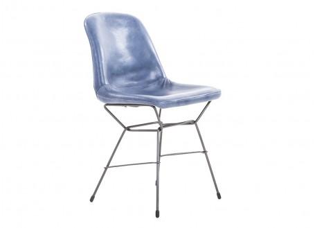 Chaise revêtement en cuir vieilli - coloris Bleu