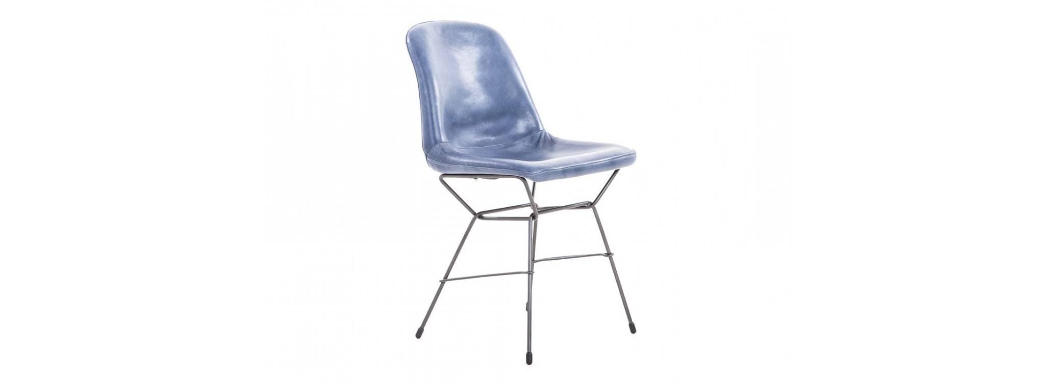 Chaise Rockford avec revêtement en cuir - coloris bleu