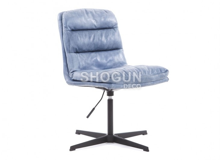 Fauteuil de bureau pivotant en cuir - coloris Bleu