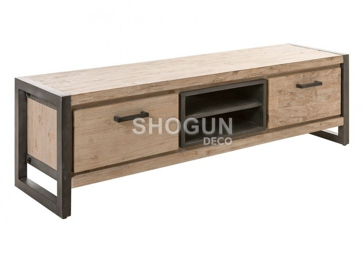 Meuble TV acacia bois clair