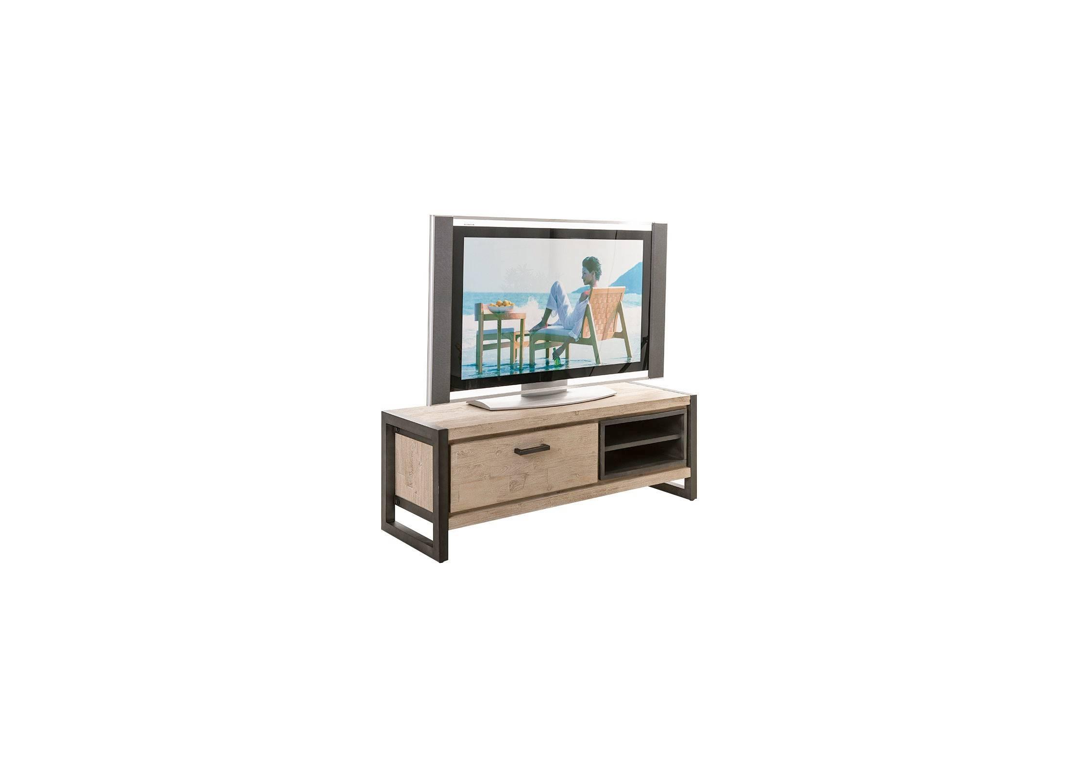 meuble tv multimedia en bois d 39 acacia et m tal style industriel loft. Black Bedroom Furniture Sets. Home Design Ideas