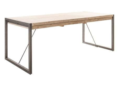 Table repas Acacia et métal satiné TUNDRA 200 -250 cm