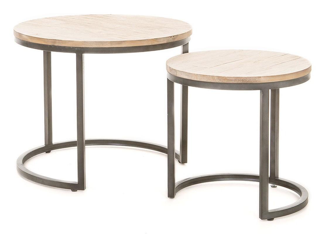 deux tables gigognes rondes en acacia et m tal style. Black Bedroom Furniture Sets. Home Design Ideas