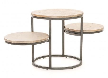 Table d'appoint, trois plateaux ronds - Acacia et metal