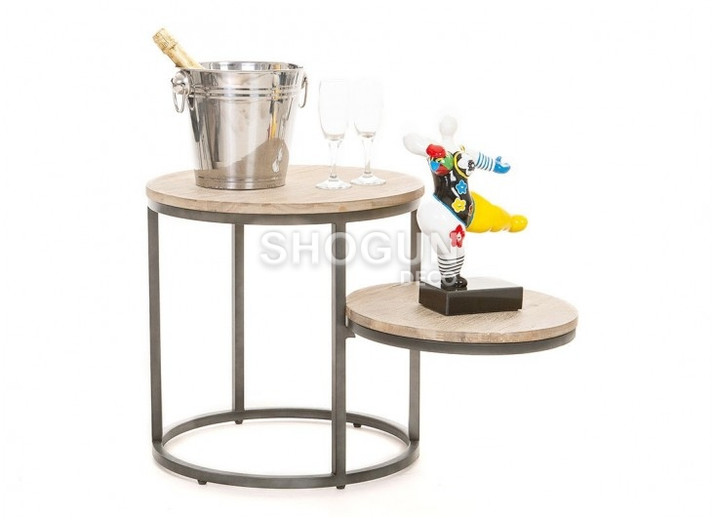 Table d\'appoint 3 plateaux ronds, acacia et métal déco industriel-loft