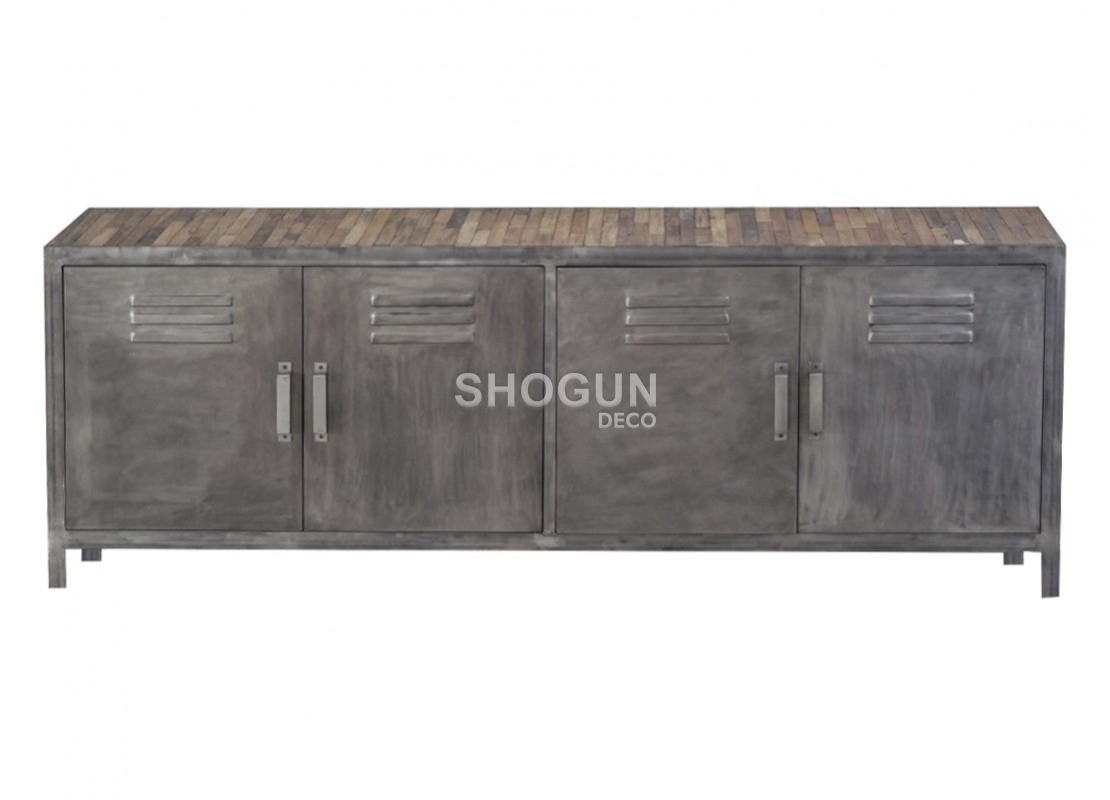 meuble tv loft en bois massif et structure en fer patin 4 portes. Black Bedroom Furniture Sets. Home Design Ideas