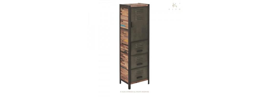 Armoire Locker, 1 porte / 3 tiroirs