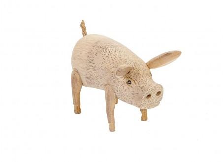 Cochon, sculpture en bois. artisanat du monde.