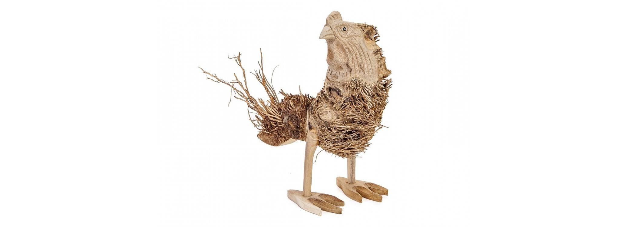 Poule, sculpture  en bois, Artisanat du monde.