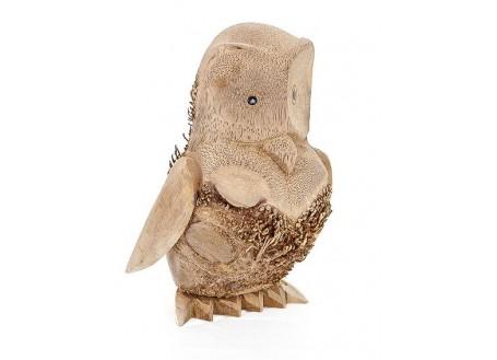 Hibou, sculpture en bois. Artisanat du monde.