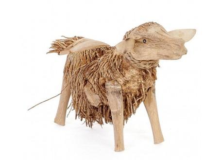 Mouton, sculpture en bois. Artisanat du monde.