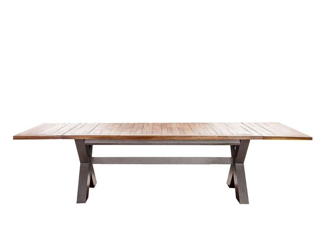 table repas extensible style industriel avec pieds en x. Black Bedroom Furniture Sets. Home Design Ideas