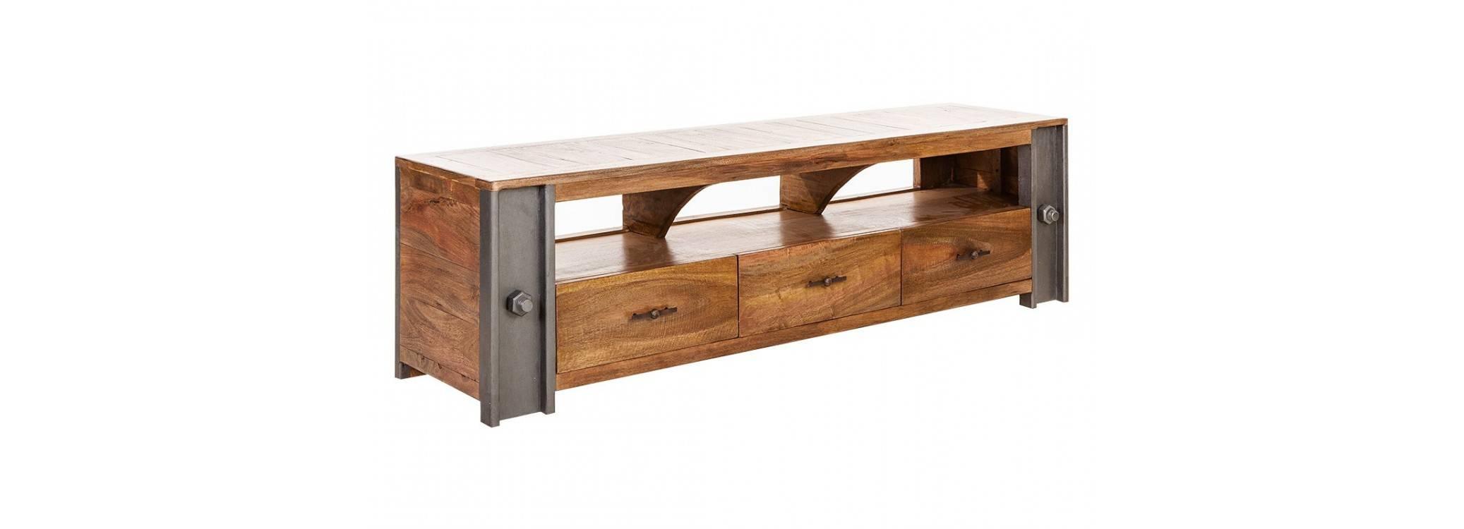 Meuble TV industriel Profile - 1 niche et 3 tiroirs