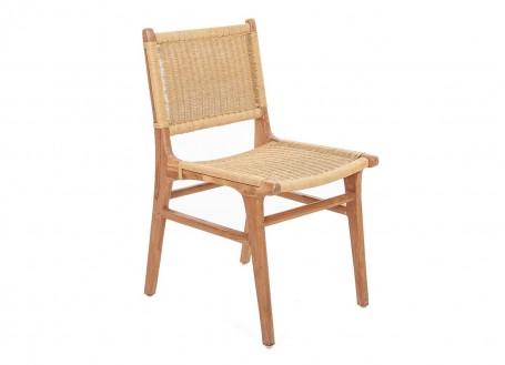 Chaise Nordique beige en teck, assise en loom
