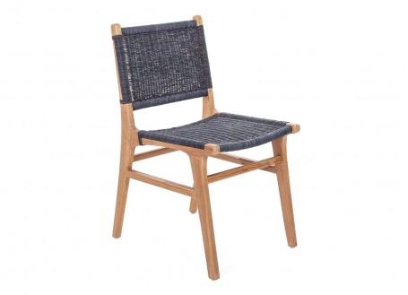 Chaise Nordique gris foncé en Teck et assise en loom