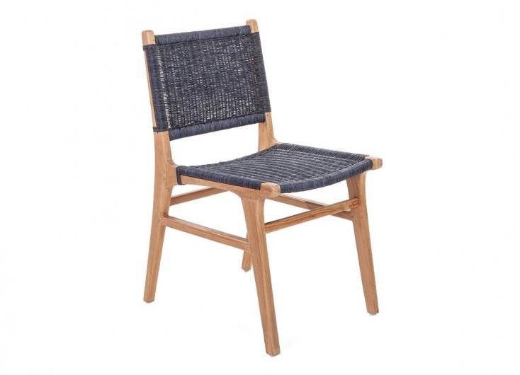 Chaise Nordique En Teck Assise Loom Finition Grey