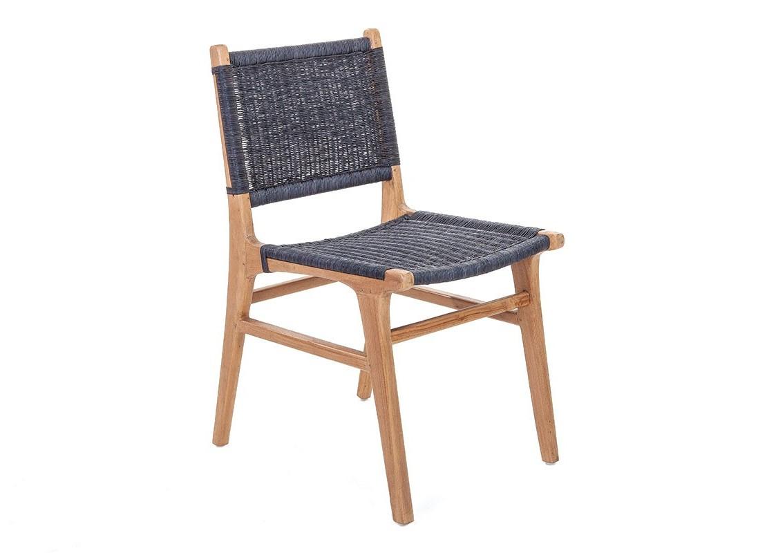 Chaise Nordique gris foncé en teck avec assise en loom