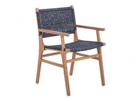 Fauteuil Nordique en teck, assise en loom finition grey