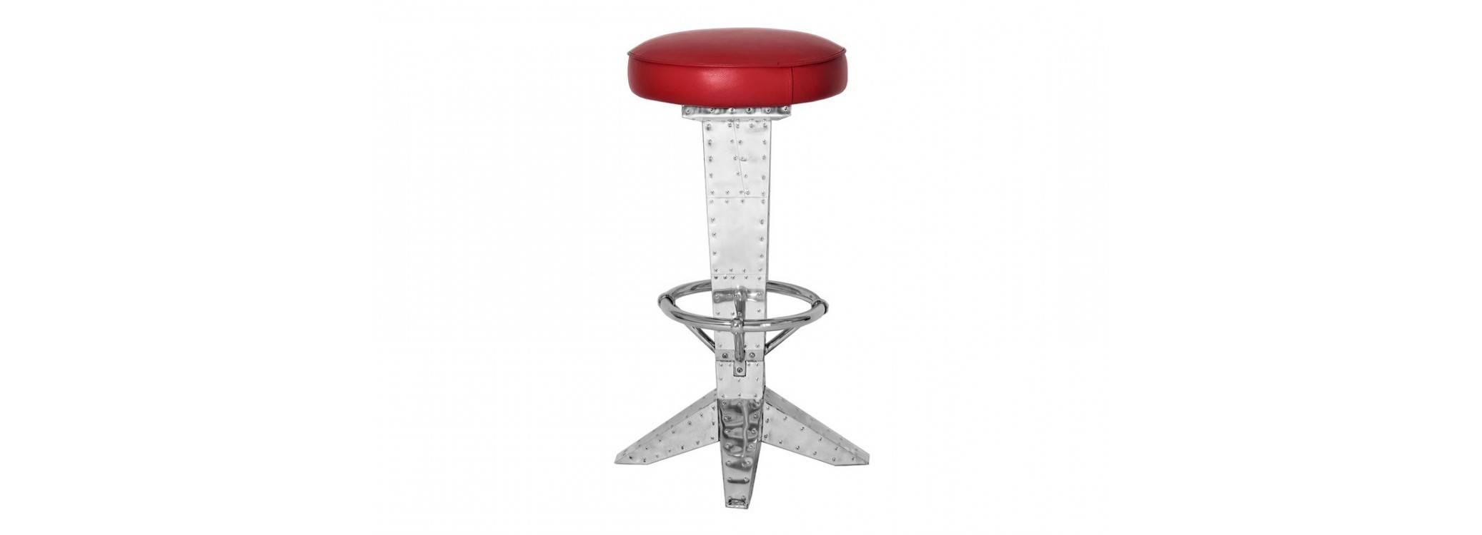 Tabouret de bar DC3 - Cuir rouge