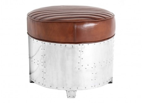 Aviator round Ottoman - Brown leather
