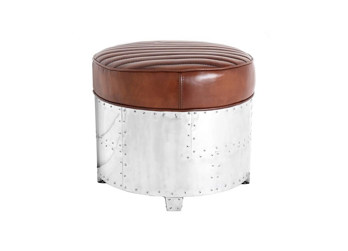 Aviator round Ottoman - Brown leather