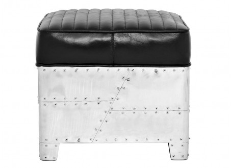 Aviator square Ottoman - Black leather