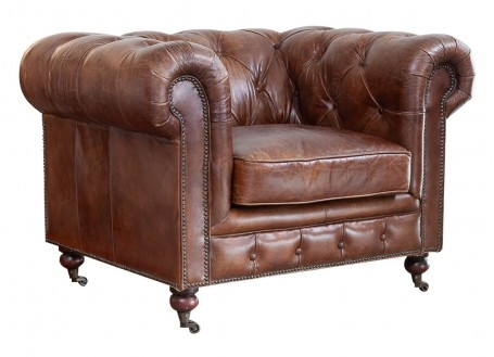 Fauteuil club Chesterfield - Cuir marron