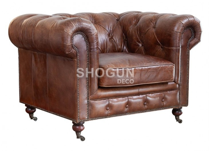 Chesterfield armchair in brown leather