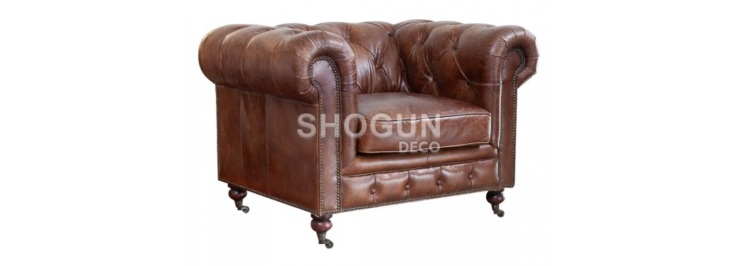 Chesterfield armchair - Brown leather