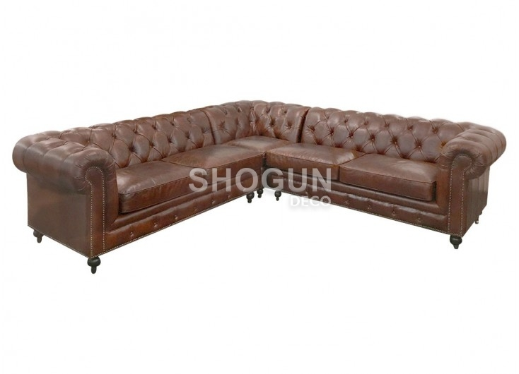 canap d 39 angle cuir chesterfield avec roulettes marron cigare. Black Bedroom Furniture Sets. Home Design Ideas