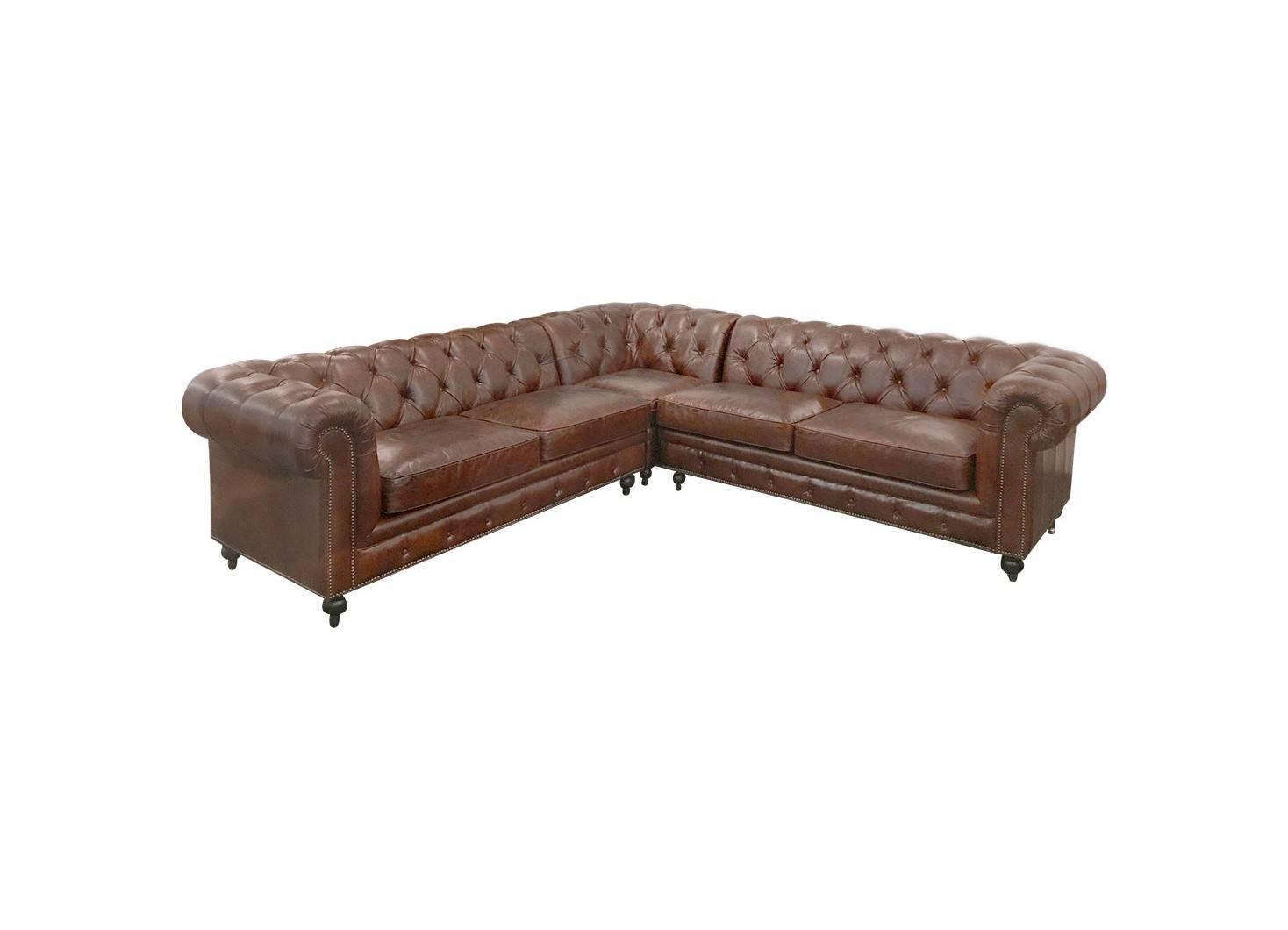 Canapé d'angle cuir Chesterfield avec roulettes - Marron cigare