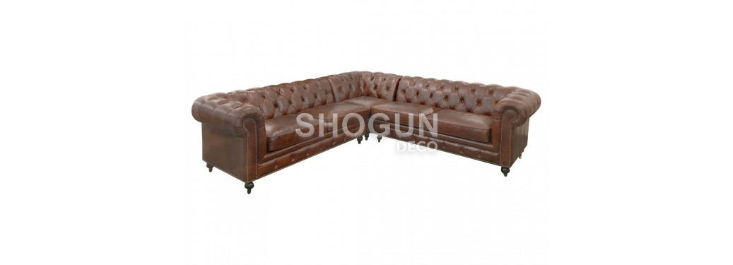 Chesterfield corner sofa, 4 seaters - Brown leather